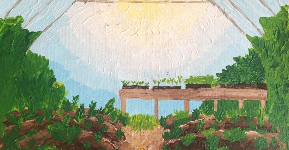 Hoop House and Permaculture in Kodiak Alaska Impressionist Garden Painting