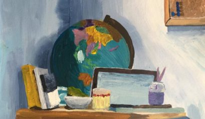 Alaska still life painting by Alaskan artist with globe, books, glass, bowl, and paint