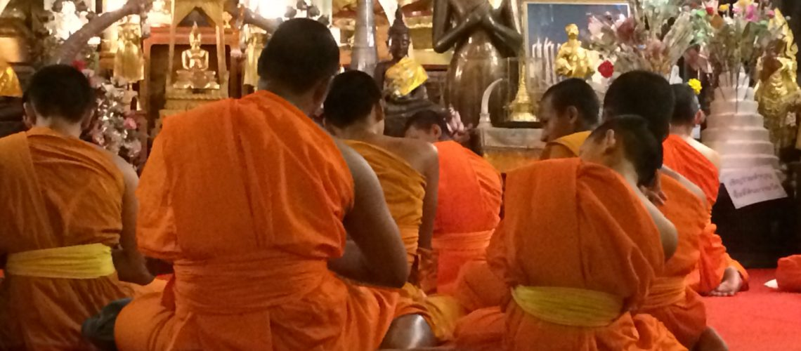 Monks novices meditators Vipassana meditation at Wat Doi Suthep Chiang Mai