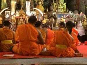 Monks novices meditators Vipassana meditation at Wat Doi Suthep Chiang Mai
